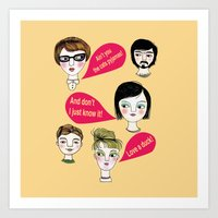 talking heads Art Prints featuring Talking Heads in Yellow by Jonny Bateau