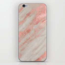 Marble Rose Gold White Marble Foil Shimmer iPhone Skin