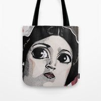 leia Tote Bags featuring Leia by Drawn by Nina