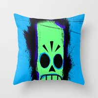 grim fandango Throw Pillows featuring Manny Calavera, Blue version (Grim Fandango) by acefecoo