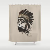 headdress Shower Curtains featuring Lion Headdress by Alyn Spiller