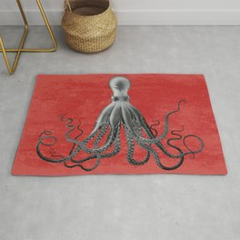 Red, Giant Octopus Poster, Octopus Art Print, Lord Bodner's Octopus, Lord Bodner Octopus, Nautical Octopus, Giant Octopus Poster, Nautical Art Rug