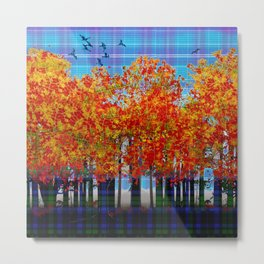 Fall Leaves On Plaid Metal Print