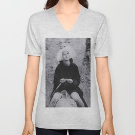 Nun Rolling Joint Sisters of Mercy Vintage Poster black and white photography - photograph Unisex V-Neck
