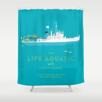 the life aquatic Shower Curtains featuring The Life Aquatic with Steve Zissou by steeeeee