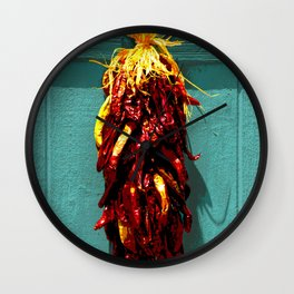 Chile Ristra Hanging on a Turquoise Door Wall Clock