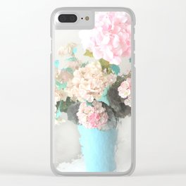 Shabby Chic Hydrangea Flowers Pink White Aqua Blue Clear iPhone Case