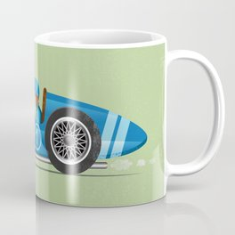 Blue Retro Racing Car Coffee Mug
