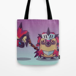 Pixel the Monster Hunting Pug Tote Bag