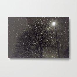 Snow in the dark Metal Print