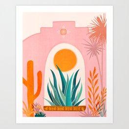 The Day Begins / Desert Garden Landscape Art Print