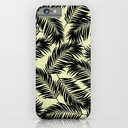 Palm Frond Tropical Décor Leaf Pattern Black on Yellow iPhone Case