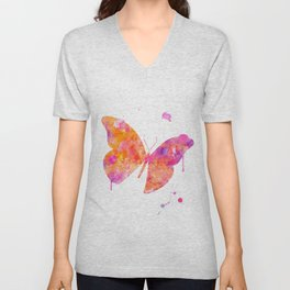 Orange Pink Butterfly Watercolor Painting Unisex V-Neck