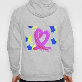 Pink Heart Ribbon (with Tie-Dye Blue-Yellow) for Breast Cancer Research by Jeffrey G. Rosenberg Hoody