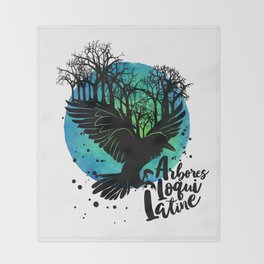 The Trees Speak Latin Throw Blanket