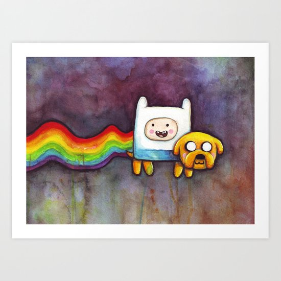 Nyan Time with Jake and Finn Art Print