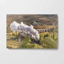'The Jacobite' at Glenfinnan Viaducat Metal Print