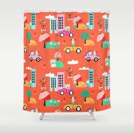 Dog Days Orange #nursery Shower Curtain