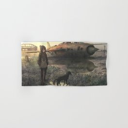 Airplane and girl Original Artwork Hand & Bath Towel