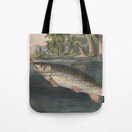 Vintage River Fishing Illustration (1874) Tote Bag