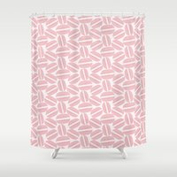 macaroon Shower Curtains featuring Rose Pink Macaron Pattern - France Art - French Macaroon by French Macaron Art Print and Decor Store