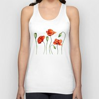 poppies Tank Tops featuring Poppies by Julia Badeeva