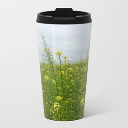 Field of Green and Gold Metal Travel Mug