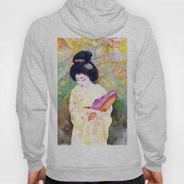 Watercolor Japanese Beauty - Lower Her Head Hoody