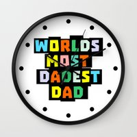 dad Wall Clocks featuring Dad by mailboxdisco