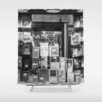 italian Shower Curtains featuring Italian Bookshop by Zeno Photography