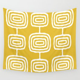 Mid Century Modern Atomic Rings Pattern 771 Mustard Yellow Wall Tapestry