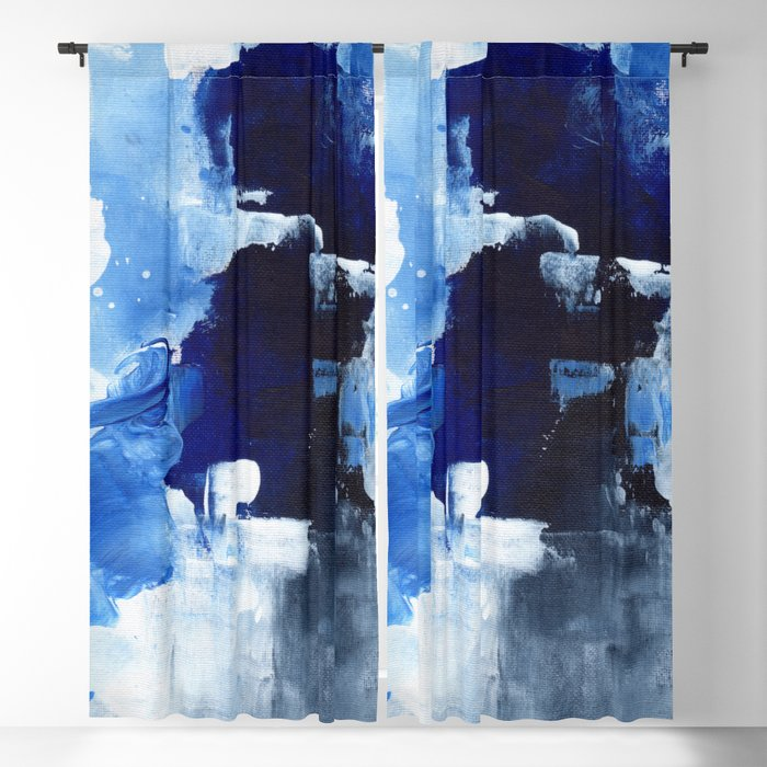 Ejaaz Haniff Abstract Acrylic Palette Knife Painting Dark Blue Grey Winter Storm Blackout Curtain By Enshape