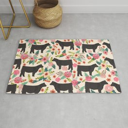 Show Steer cattle breed floral animal cow pattern cows florals farm gifts Rug