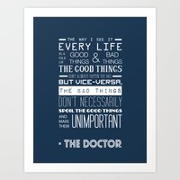doctor who Art Prints featuring Doctor Who by Sarah Jane Rozman