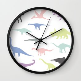 Colorful dinosaurus pattern Wall Clock