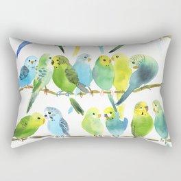 A Chatter of Budgerigars Rectangular Pillow