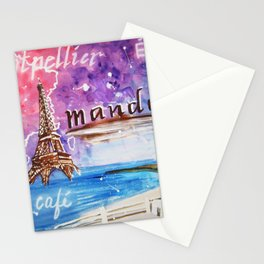 Eiffel Tower Paris France French Cafe Watercolor Painting Stationery Cards