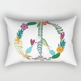 Floral Peace Sign Rectangular Pillow