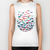 whimsical Biker Tanks featuring Heart Connections - watercolor painting by micklyn