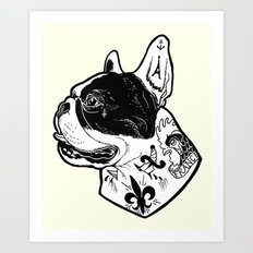 French Bulldog Tattooed Dog Art Print
