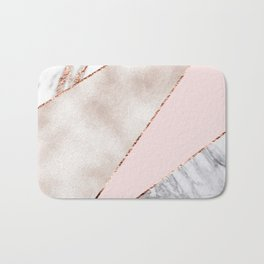 Spliced mixed rose gold marble Bath Mat