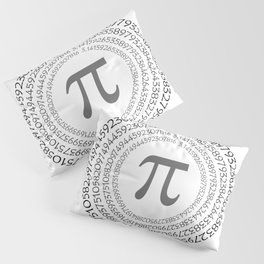 The Pi symbol mathematical constant irrational number on circle, greek letter, background Pillow Sham