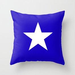 white star on blue background Throw Pillow