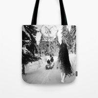 pagan Tote Bags featuring Pagan forest by Kristina Haritonova