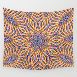 Kaleidoscope Colourful Stripes With Pink Background Wall Tapestry