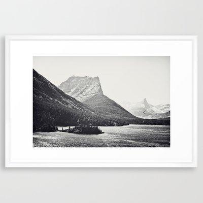 Glacier Mountain Lake Black an...