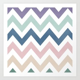 MUTED CHEVRON {COOL TONES} Art Print