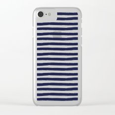 Navy Blue and White Horizontal Stripes Clear iPhone Case