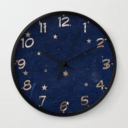Good night - Leaf Gold Stars on Dark Blue Background Wall Clock