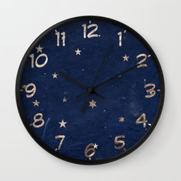 Good night - Leaf Gold Stars on Dark Blue Background Wall Clock
